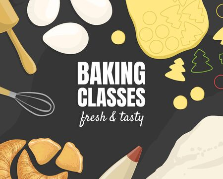 Baking Classes, Fresh and Tasty Banner Template, Culinary School Element Vector Illustration