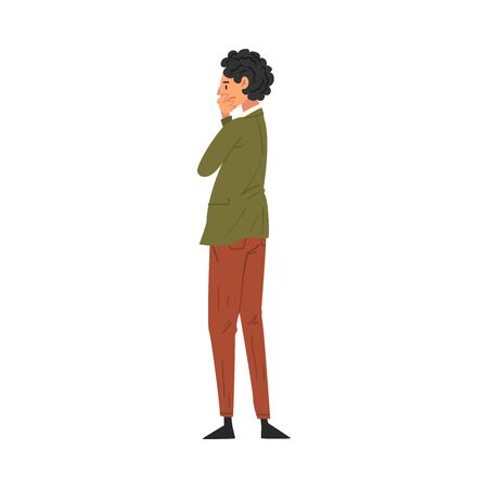 Thoughtful Man Standing Back and Looking at Something, View from Behind Vector Illustration on White Background.