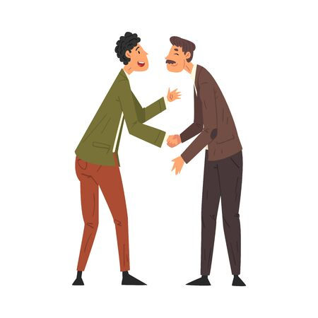 Meet of Two Friends, Business Meeting, Male Characters Handshaking and Communicating Vector Illustration