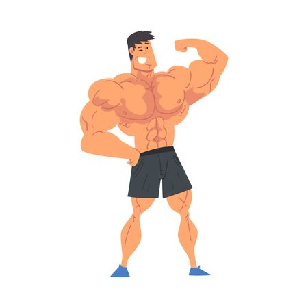 Young Muscular Shirtless Man, Strong Bodybuilder Vector Illustration