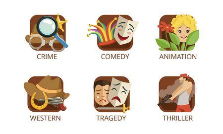 Cinema Genres Set, Crime, Comedy, Animation, Western, Tragedy, Thriller, Cinematography, Movie Production Sign Vector Illustration