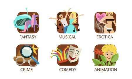 Cinema Genres Set, Crime, Fantasy, Musical, Erotica, Crime, Comedy, Animation, Cinematography, Movie Production Sign Vector Illustration Banque d'images - 139840877