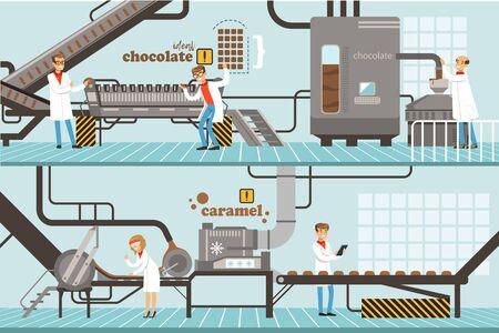 Schokoladen- und Karamellfabrik-Produktionsprozess-Set, Süßwaren-Süßwaren-Industrie-Ausrüstungs-Vektor-Illustration Vektorgrafik