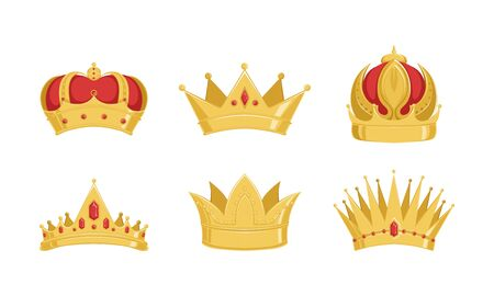 Golden Crowns Collection, Royal Symbols of Power of Kings or Imperiors Vector Illustration