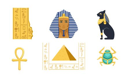 Traditional Cultural and Historical Symbols of Egypt Collection, Pyramid, Ankh, Tutankhamun, Scarab, Bastet Vector Illustration 向量圖像