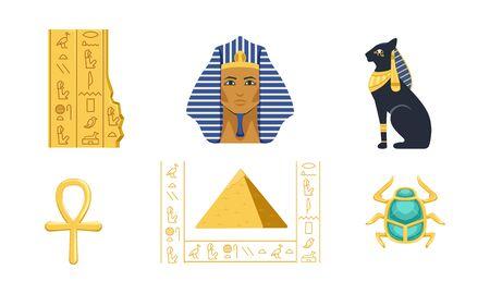 Traditional Cultural and Historical Symbols of Egypt Collection, Pyramid, Ankh, Tutankhamun, Scarab, Bastet Vector Illustration Ilustrace