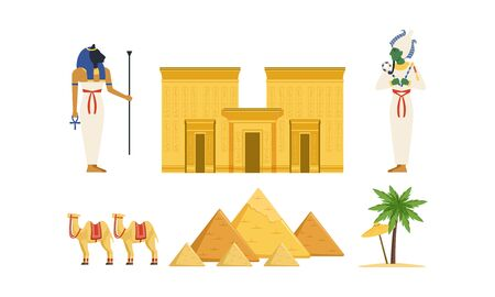 Traditional Cultural and Historical Symbols of Egypt Collection, Ancient Egyptian Deities, Pyramids, Camel, , Palm Tree Vector Illustration Ilustrace