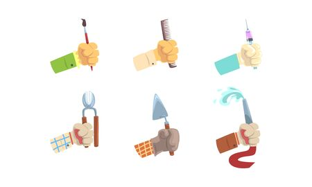 Male Hand Holding Tools Set, Hands with Symbols of Different Professions Vector Illustration