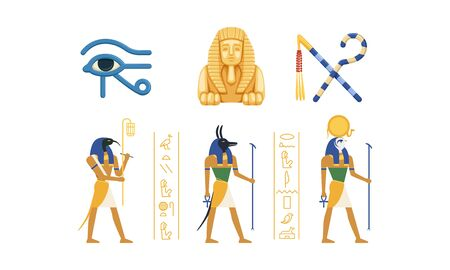 Traditional Cultural and Historical Symbols of Egypt Collection, Ancient Egyptian Deities, Eye of Horus, Sphinx Statue, Rod and Whip Vector Illustration 向量圖像