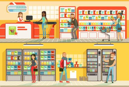 Cheerful People Shopping in Supermarket Set, Male and Female Customers Buying Food Products in Store Flat Vector Illustration