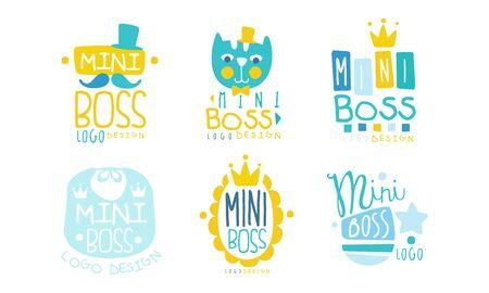 Collection de modèles de conception de logo Mini Boss, illustration vectorielle d'étiquettes dessinées à la main enfantin coloré mignon Logo