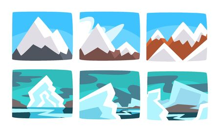 Beautiful Snowy Mountains Landscape Set, Hills and Icebergs in Sunny and Cloudy Weather Vector Illustration  イラスト・ベクター素材