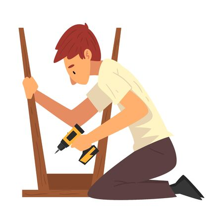 Man Assembling and Installing New Furniture, Male Worker Drilling Screw in Wooden Stool, Manual Furniture Assembly Vector Illustration