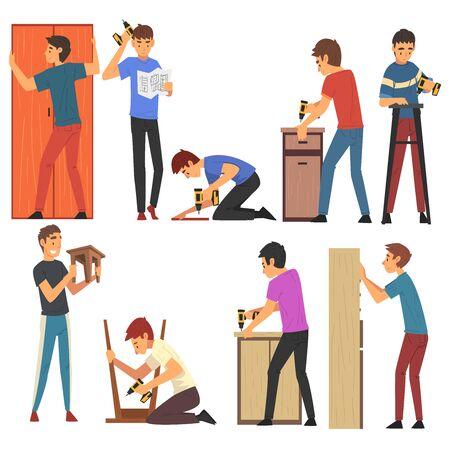 Men Assembling and Installing New Furniture Set, Manual Furniture Assembly Vector Illustration