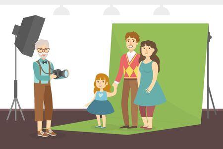 Happy Family Posing in Photo Studio, Senior Man Photographer During Shooting, Elderly People Active Lifestyle Vector Illustration Иллюстрация