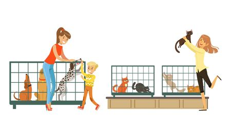 People Buying Pets in Pet Shop, Customers Choosing Home Animals Vector Illustration on White Background. Ilustrace