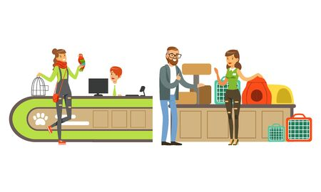 Pet Shop Interior with Seller and People Buying Animals, Feed, Accessories for their Pets Vector Illustration Ilustrace