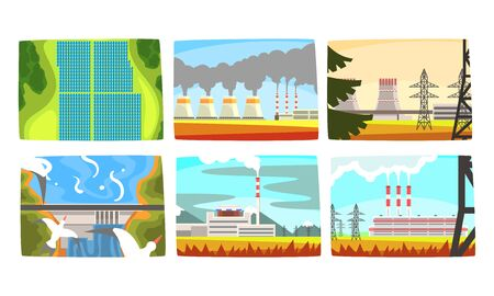 Traditional and Innovative Ecological Energy Generation Power Stations Collection, Hydroelectric Power Station, Electricity Generation Plants, Solar Panels Vector Illustration
