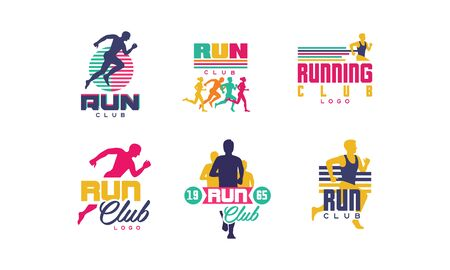 Run Sport Club   Templates Collection, Tournament, Marathon, Sport Organization Badges Vector Illustration on White Background. Иллюстрация