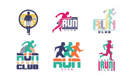 Run Sport Club   Templates Collection, Tournament, Marathon, Sport Organization Colorful Badges Vector Illustration on White Background.