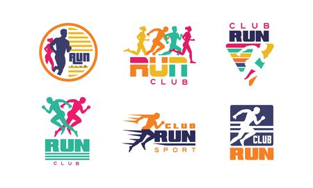 Run Club   Templates Collection, Tournament, Marathon, Sport Organization Colorful Badges Vector Illustration on White Background.