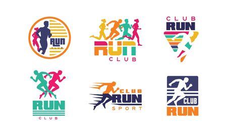 Run Club Templates Collection, Turnier, Marathon, Sportorganisation Bunte Abzeichen Vector Illustration auf weißem Hintergrund.