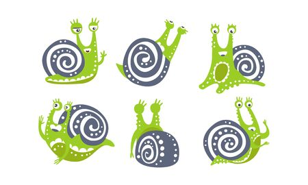 Cute Snail Collection, Funny Mollusk Animal Cartoon Character in Various Poses Vector Illustration on White Background.