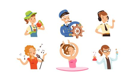 Children of Different Professions Set, Cute Boys and Girls Characters, Gardener, Captain, Air Traffic Controller, Singer, Ballerina, Scientist Vector Illustration on White Background.