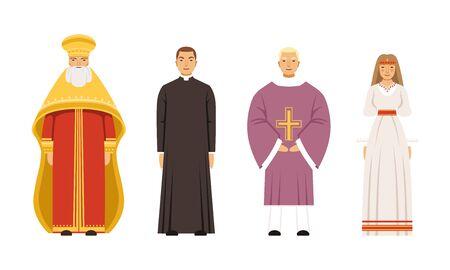 Personajes de personas de religión en la colección de ropa tradicional, metropolitano ortodoxo, sacerdote o pastor católico, vicario, ilustración vectorial de mujer eslava o pagana sobre fondo blanco. Ilustración de vector