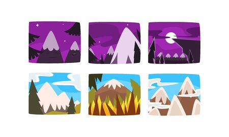 Beautiful Snowy Mountains Landscape at Different Times of Day and Year Collection Vector Illustration, Web Design