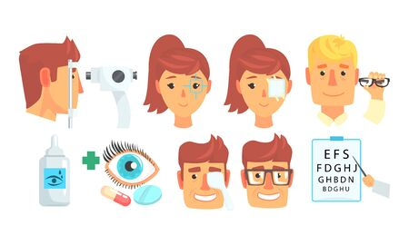 Ophthalmologist Diagnostic, Treatment and Correction of Vision Collection Vector Illustration on White Background.