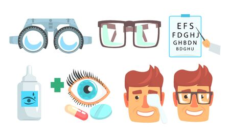 Ophthalmologist Diagnostic, Treatment and Correction of Vision Collection, Ophthalmology and Oculist Instruments Vector Illustration on White Background.
