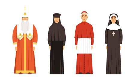 Religion People Characters in Traditional Clothes Collection, Orthodox Patriarch, Catholic Cardinal and Nuns Vector Illustration on White Background.