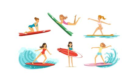 Surfing Girls Collection, Female Surfers in Swimsuits Riding Waves with Surfboards Vector Illustration