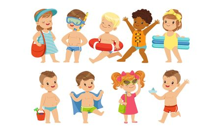 Cute Happy Kids Playing, Swimming and Having Fun at the Beach on Summer Vacation Vector Illustration Stock Illustratie