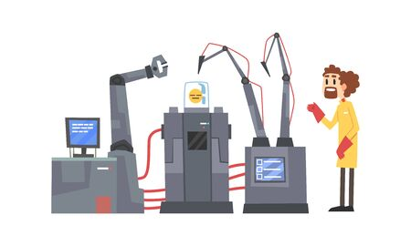 Male Scientists Character Working with Robotic Machines, Artificial Intelligence Technology Vector Illustration