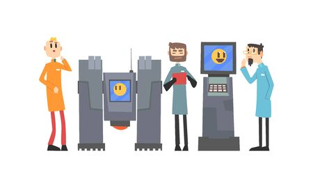 Scientists Characters Working with Robotic Machines, Artificial Intelligence Technology Vector Illustration