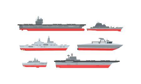 Naval Combat Ships Collection, Military Boat, Frigate, Battleship Vector Illustration