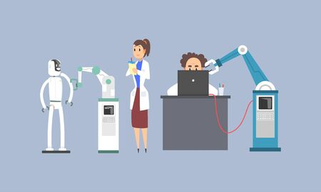 Scientists Characters Working with Mechanical Arms and Robots in Lab, Artificial Intelligence Technology Vector Illustration