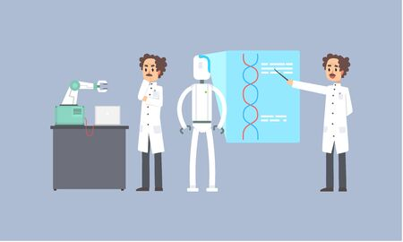 Male Scientist Character Conducting Experiments with Robots in Lab, Artificial Intelligence Technology Vector Illustration