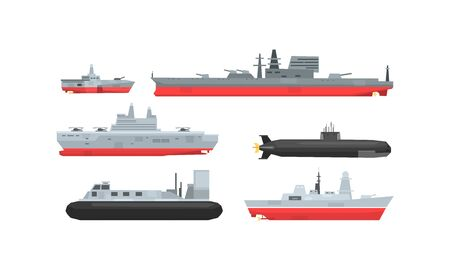 Naval Combat Ships Collection, Military Boat, Frigate, Battleship and Submarine Vector Illustration 일러스트