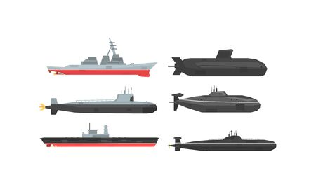 Naval Combat Ships and Submarines Collection, Military Boats, Frigates, Battleships Vector Illustration