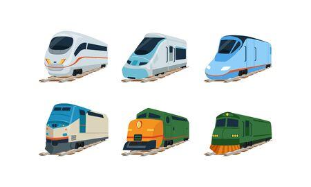 Zug-Lokomotiven-Sammlung, moderne und Retro-Eisenbahnwagen-Vektor-Illustration Vektorgrafik
