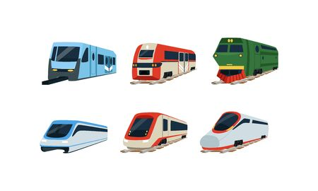 Train Locomotives Collection, Modern and Retro Railway Carriages, Evolution of Trains Concept Vector Illustration Ilustração