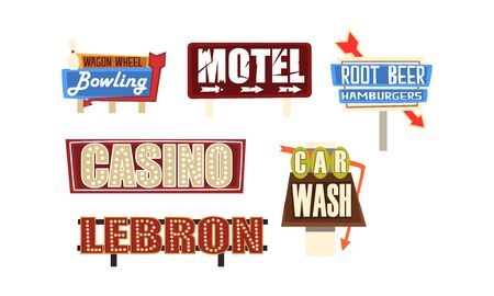 Retro Signs and Pointers Collection, Vintage Billboards, Signboards, Light Banners Vector Illustration
