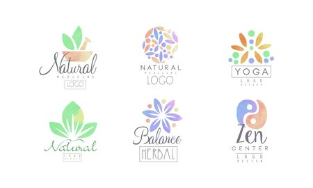 Natural Medicine Design Collection, Zen Center, Yoga, Balance, Herbal Watercolor Badges Vector Illustration