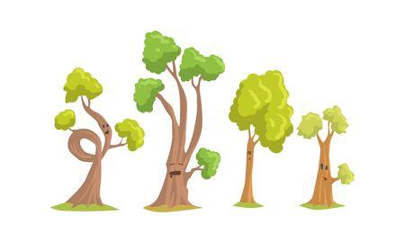 Collection de personnages de dessins animés d'arbres drôles, arbres comiques montrant diverses émotions Vector Illustration