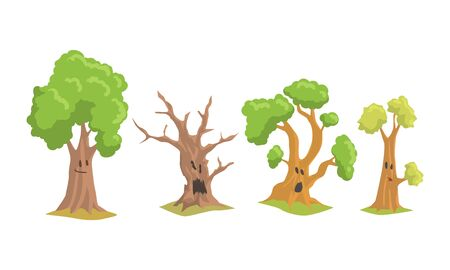 Funny Trees Cartoon Characters Collection, Comic Trees with Cute Faces Showing Various Emotions Vector Illustration
