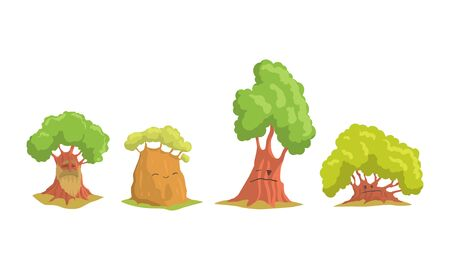Funny Trees Cartoon Characters Collection, Humanized Trees with Cute Faces Showing Various Emotions Vector Illustration 일러스트
