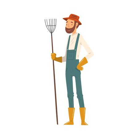 Man Gardener Standing with Rake, Cheerful Male Farmer Character in veralls Working at Garden or Farm Vector Illustration